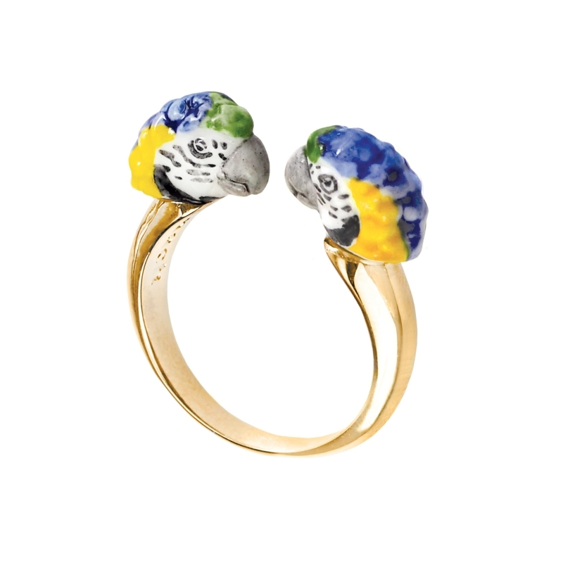 Bague porcelaine Perroquet