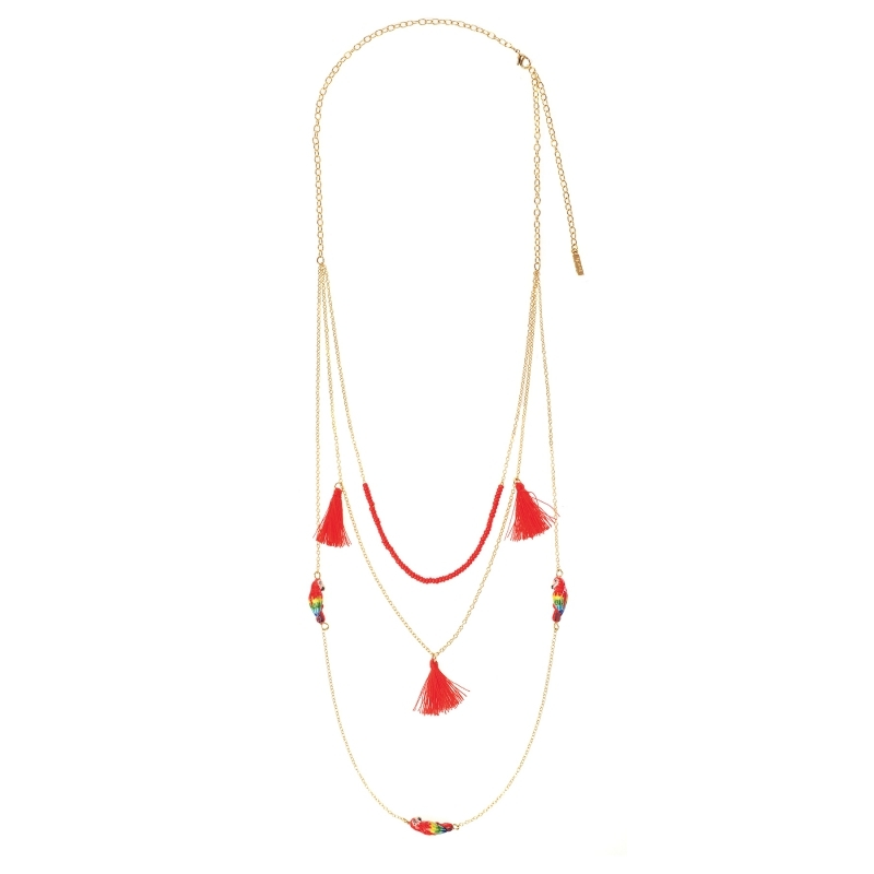 Collier multi chaine rouge