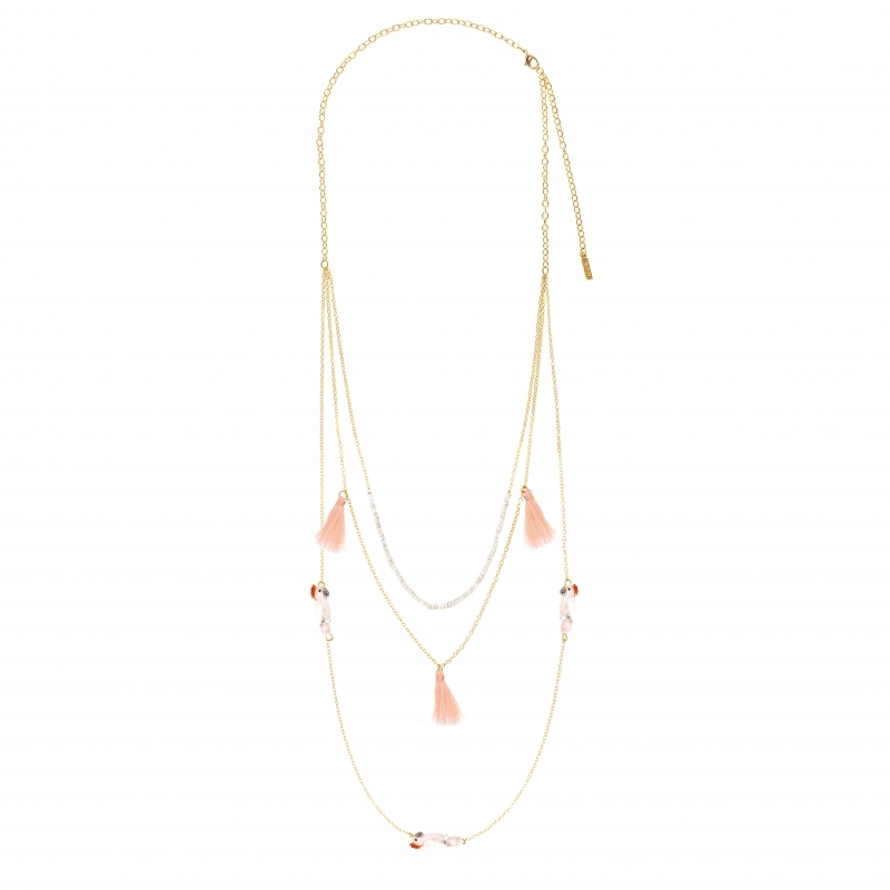 Collier multi chaine rose